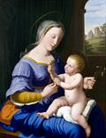 Marquard Wocher (1760 - 1830). An interesting oil painting depicting `Madonna and Child`, signed by