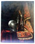 French School 19th century. A beautiful oil painting depicting a helmet, a sword, a musket on a