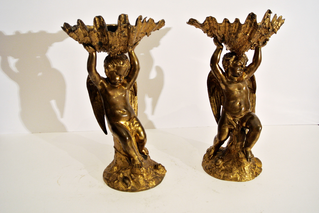 Italian School 19th century. A very decorative pair of gilded bronze sculpture (stoups) each one