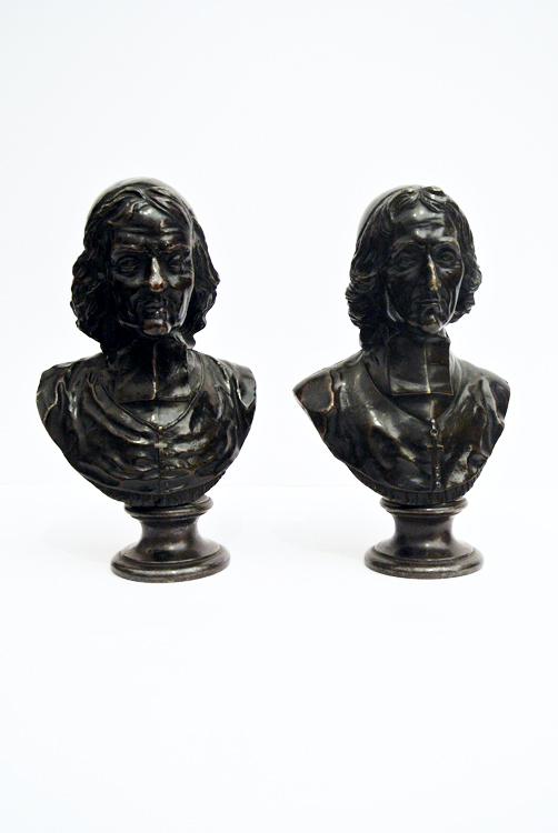 French School 18th century. A fine pair of bronze sculptures, black patina, depicting `Fenelon` and