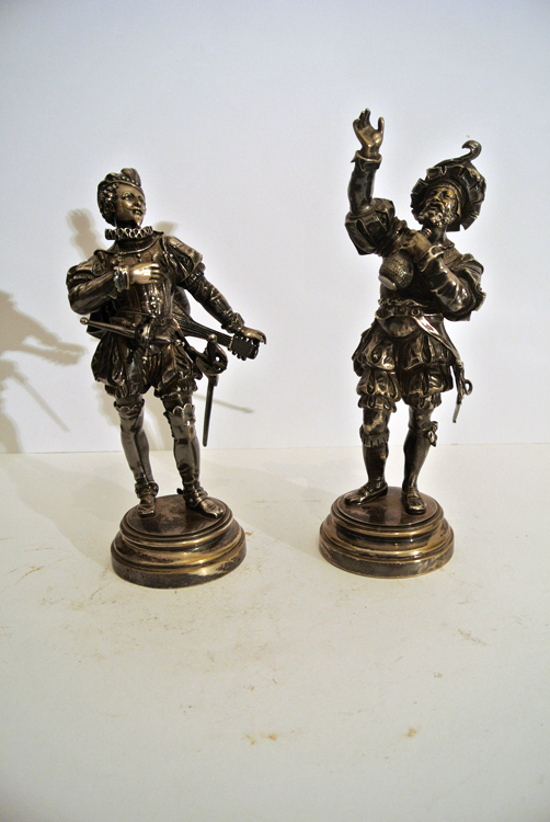 French School 19th century. A lovely pair of silver-plated bronze sculptures depicting `minstrels`,