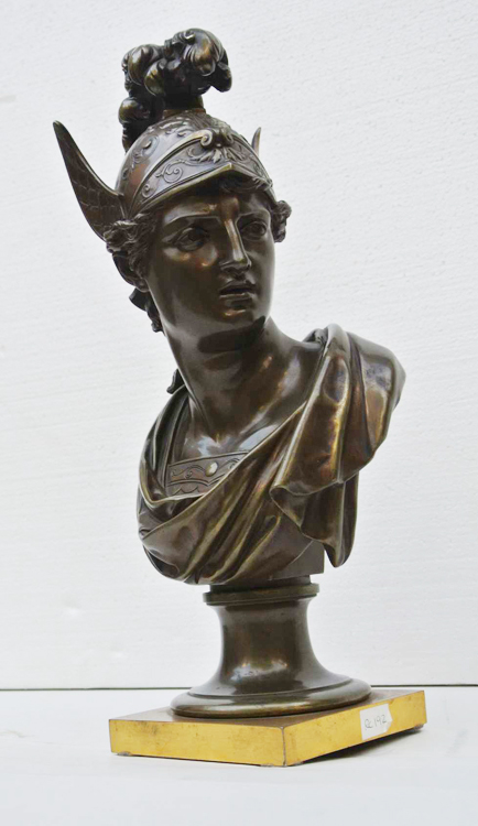 French School 19th century. A stunning bronze sculpture representing the Goddess Minerva, French