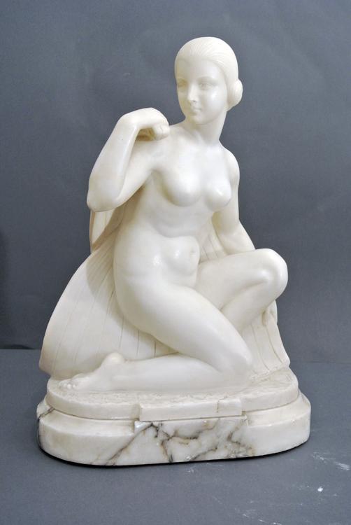 Guglielmo Pugi (Florence 19th century) A white Carrara marble sculpture depicting `female figure`