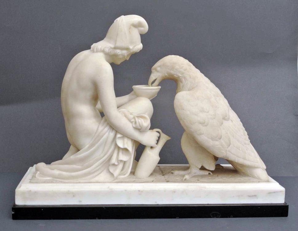 Follower of Bertel Thorvaldsen 19th century A white Carrara marble sculpture depicting `Zeus with
