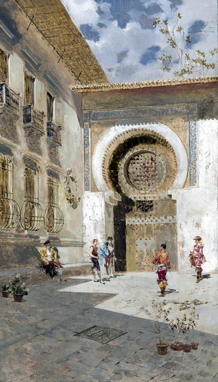 Riccardo Pellegrini (1863 - 1934). An oil painting depicting `a corner of the city of Seville`,