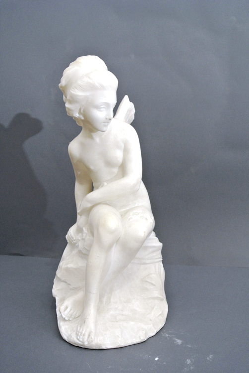 Guglielmo Pugi (Florence 19th century) A white Carrara marble sculpture depicting `mythical female