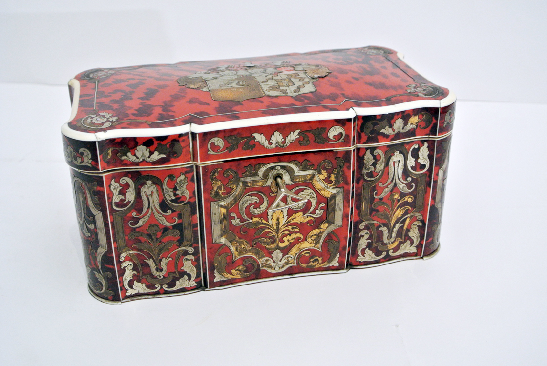 French School 18th century. An interesting wooden box covered with tortoiseshell, decorated with