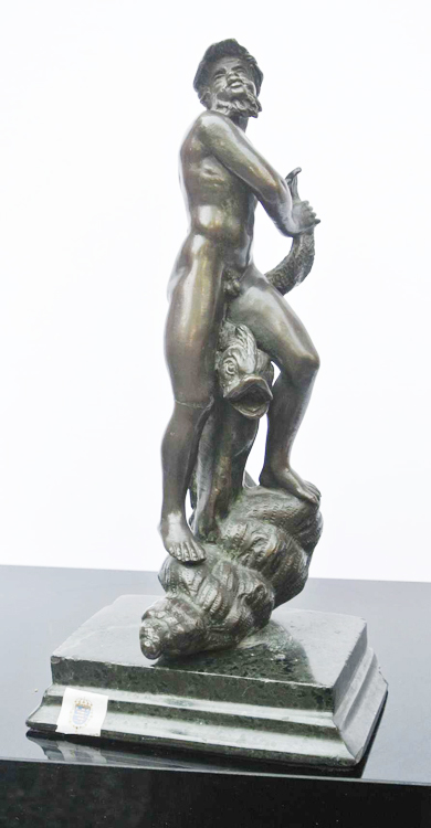German School 18th century. An antique bronze sculpture depicting the God Neptune, German School,