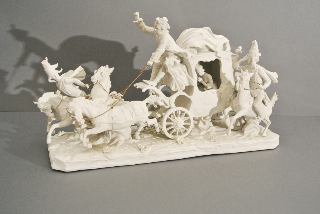 Russian School 19th century. A very fine and rare porcelain biscuit sculpture depicting a princess