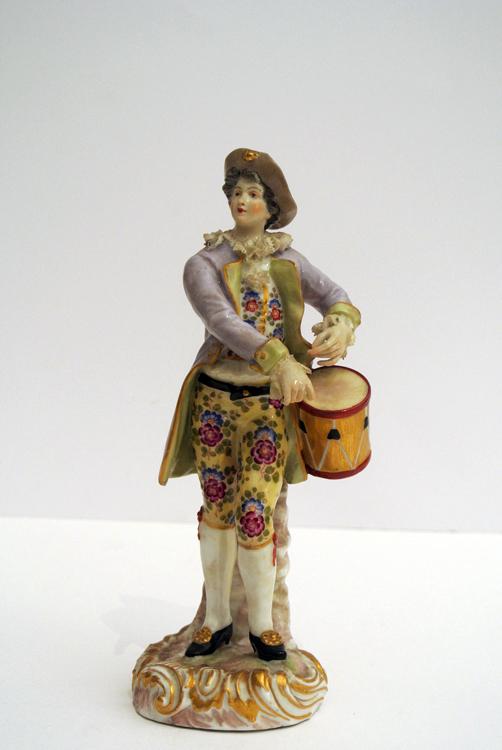 Meissen sculpture 19th century. A Meissen polychrome porcelain sculpture depicting a young boy