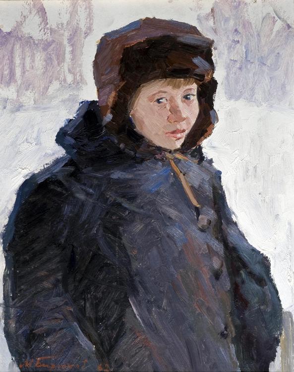 Mikhail Birukov (Russian 1927 - 1995). An interesting oil painting depicting a `portrait of a boy`,