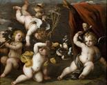 Emilian School (Italy 17th century). An interesting oil painting depicting `game of cherubs`,