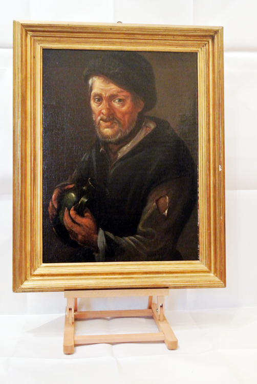 Lombard School (Italy 18th century). An oil painting depicting `a drinking man`, Lombard School (