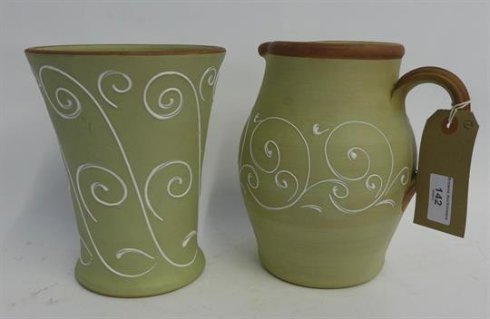 Denby Stoneware Green Glazed Jug And Matching Vase Each With White