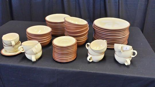 Denby (juice) eleven small plates, twelve large, twelve cup and saucers.
