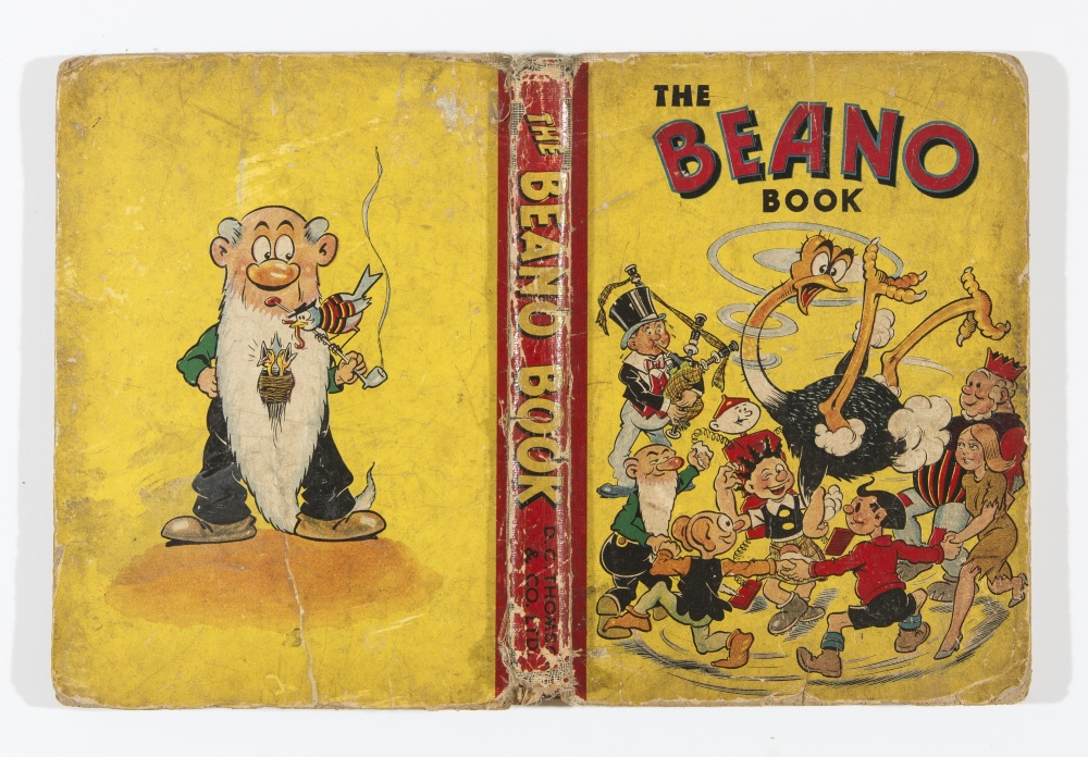 Lot 23 - Beano Book 3 (1942). Worn, loose spine and boards, cream/light tan pages with darker edges [gd]