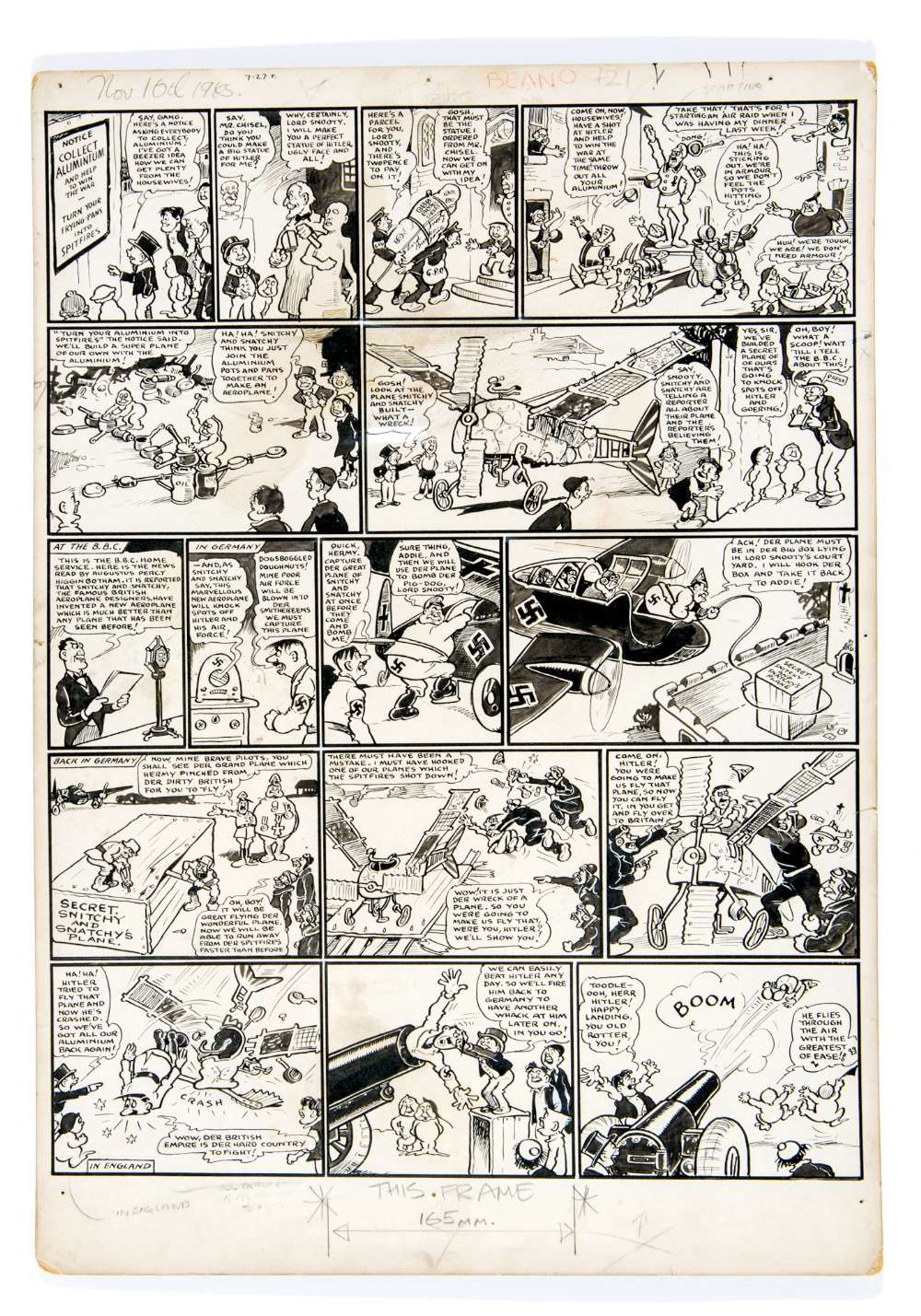 Lot 24 - Lord Snooty and his Pals original propaganda artwork by Dudley Watkins from The Beano Nov 16 1943 (