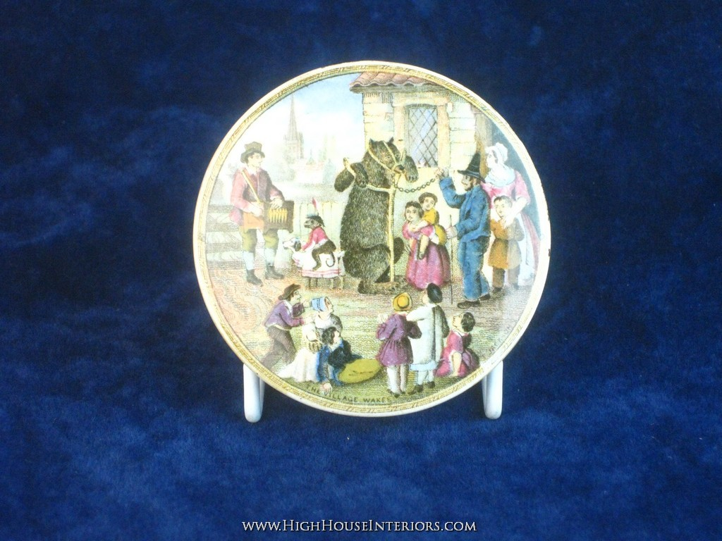 Old Pot Lid Prattware Bear`s Graese The Village Wakes - Two very minor edge nibbles