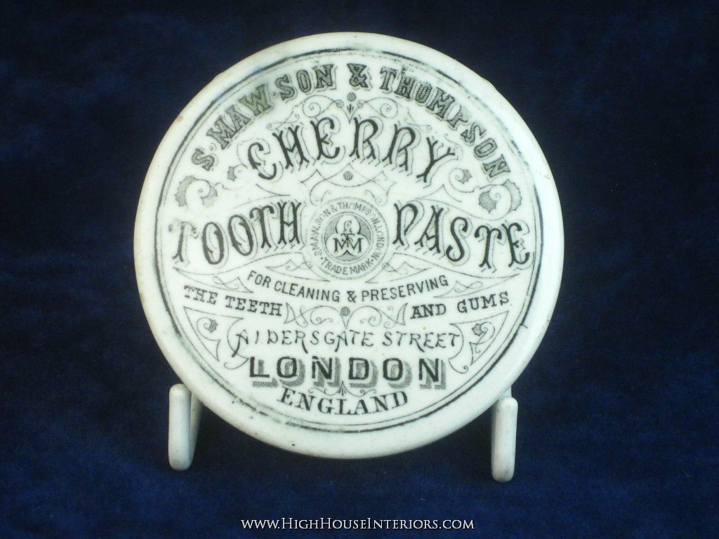 Old Pot Lid Maw`s Cherry Tooth Paste London - One ding - with base
