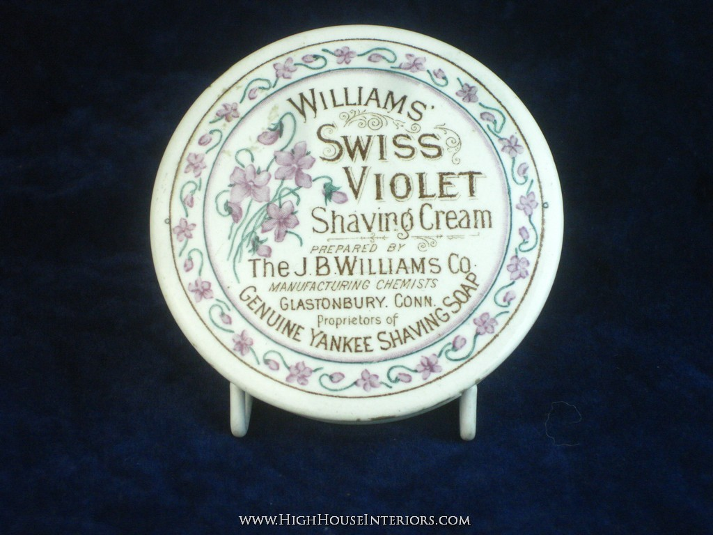 Old Pot Lid William`s Swiss Violet Shaving Cream Glastonbury Connecticut - Minimal edge wear