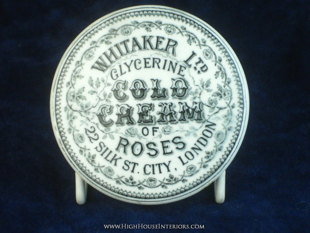 Old Pot Lid Whitaker Cold Cream of Roses London - Minor glaze flaws - with base
