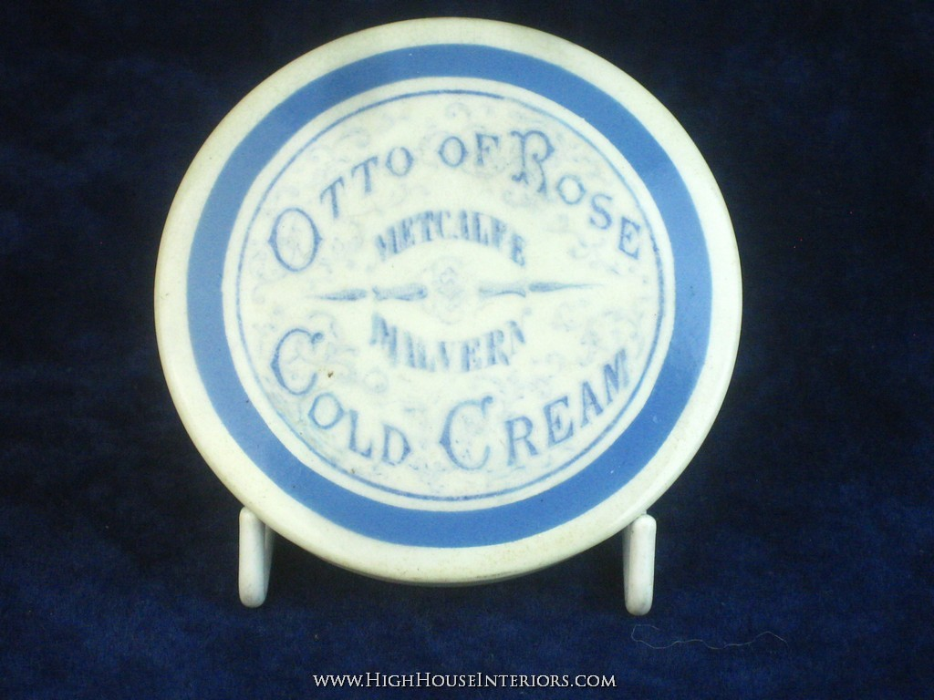 Old Pot Lid Otto of Rose Cold Cream Metcalfe Malvern - Mint and early