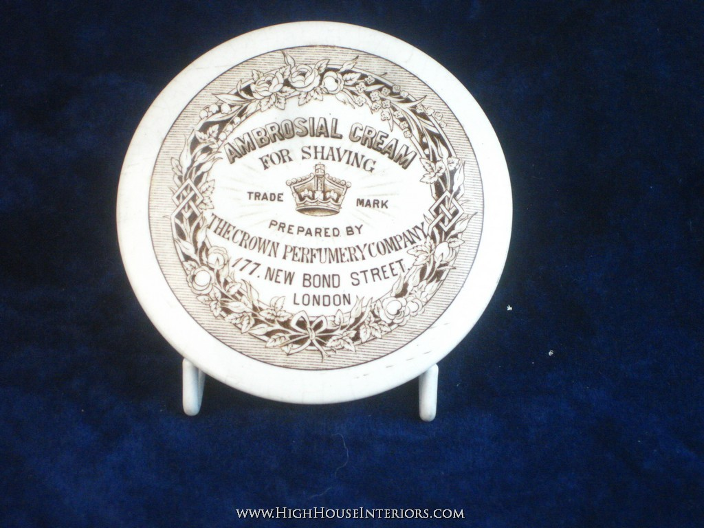Old Pot Lid Sepia Print Ambrosial Shaving Cream Crown perfumery London - Very minor nibbles and