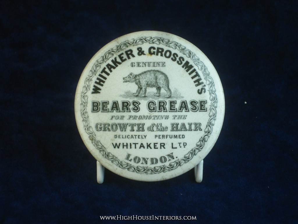 Old Pot Lid Whitaker & Grossmith`s Bears Grease for the Hair London - Heavy crazing around rim but