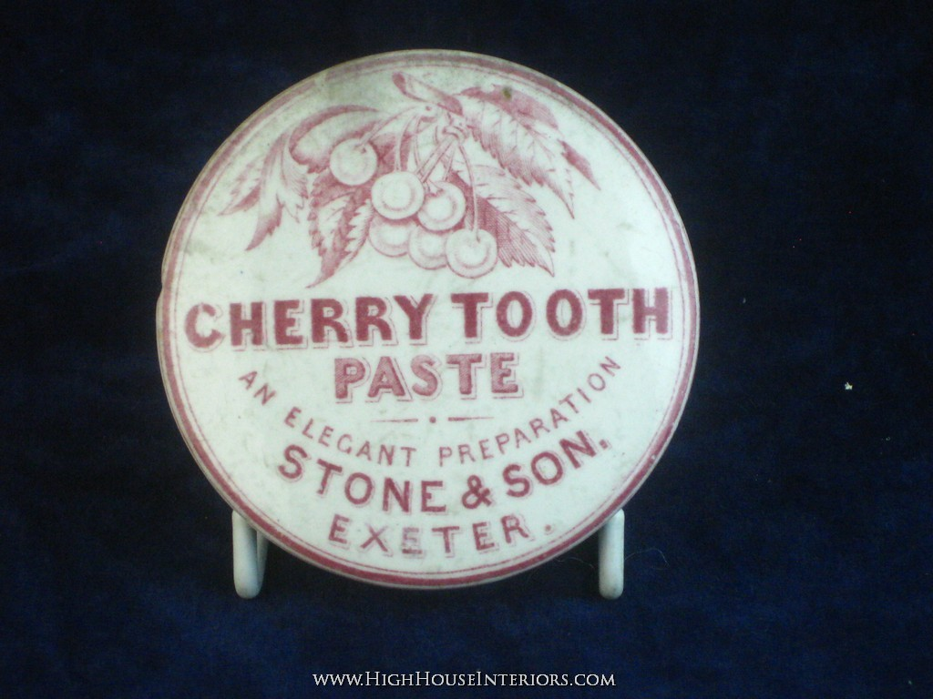 Old Pot Lid Stone and Son Cherry Toothpaste Exeter - A few nibbles, a patch of staining at 2 o`