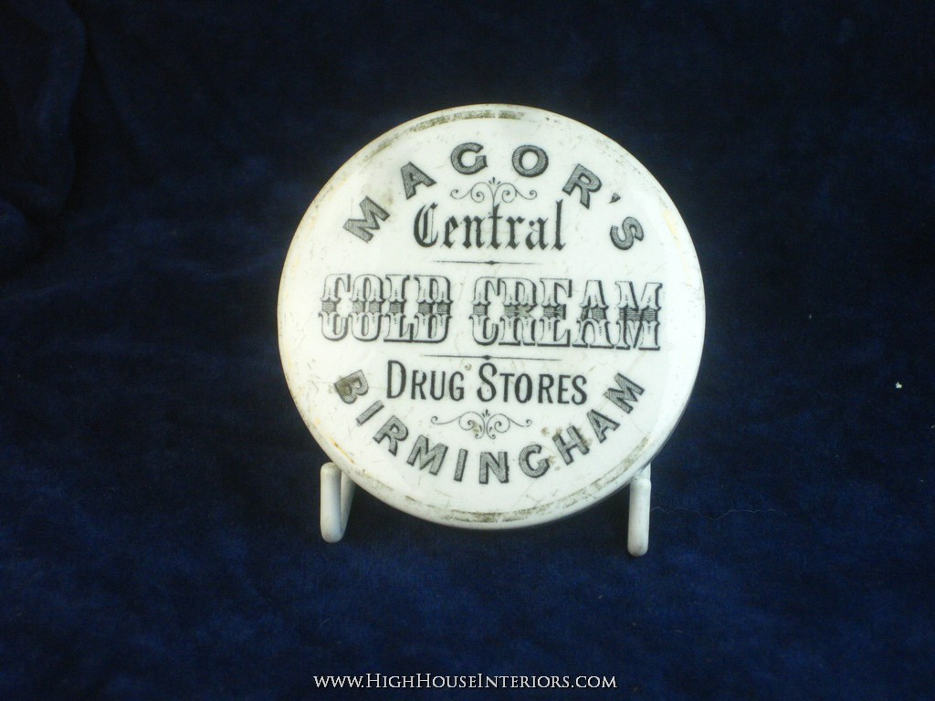 Old Pot Lid Magor`s Chemists Drug Stores Birmingham - Obvious Repair to Rim and includes base - 3