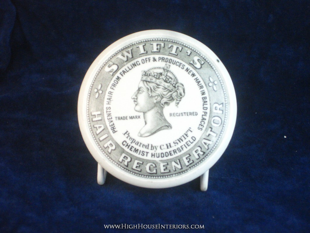 Old Pot Lid Swift`s Hair Restorer Cure Huddersfield - Tiny in-manufacture Flaw - Comes with base -