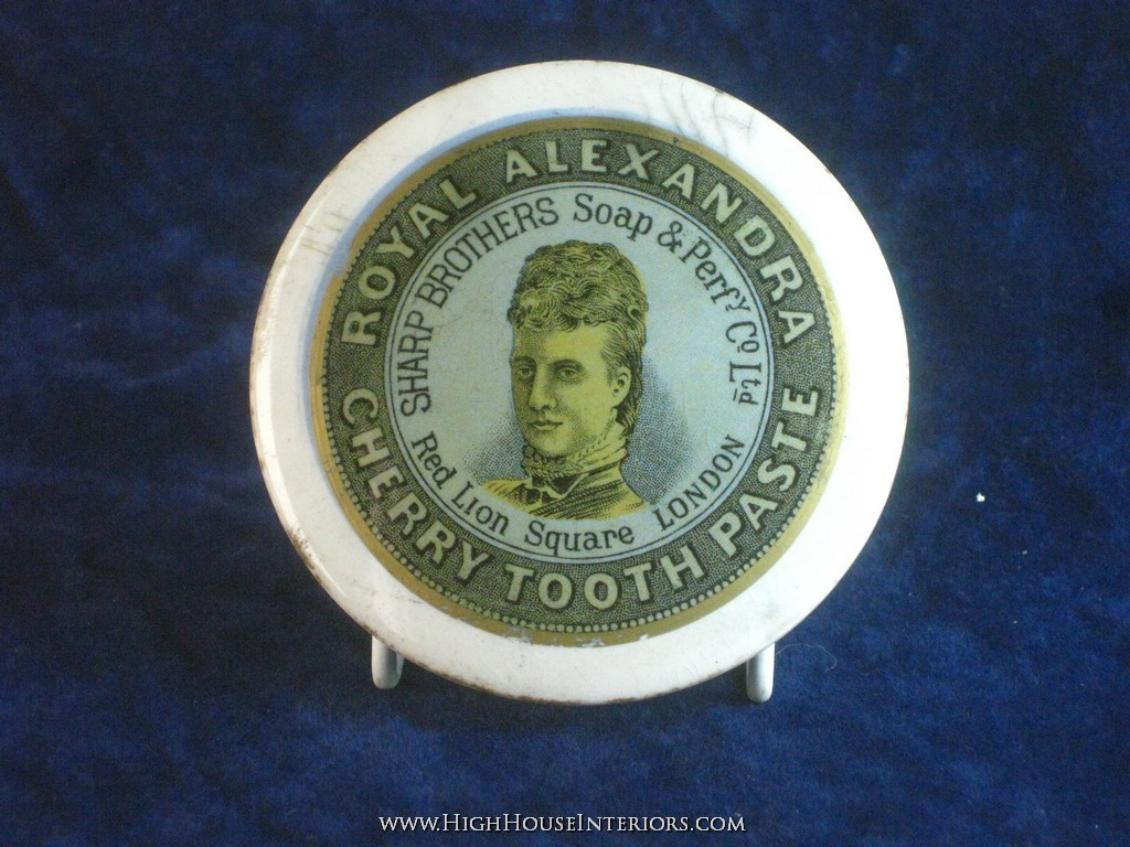Old Pot Lid Sharp Brothers Royal Alexandra Tooth Paste London - Minor rim chips scuffs and staining