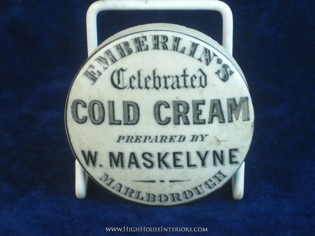 Old Pot Lid Emberlin`s Tooth Cold Cream Marlborough Wiltshire - Small repair to M in Cream and