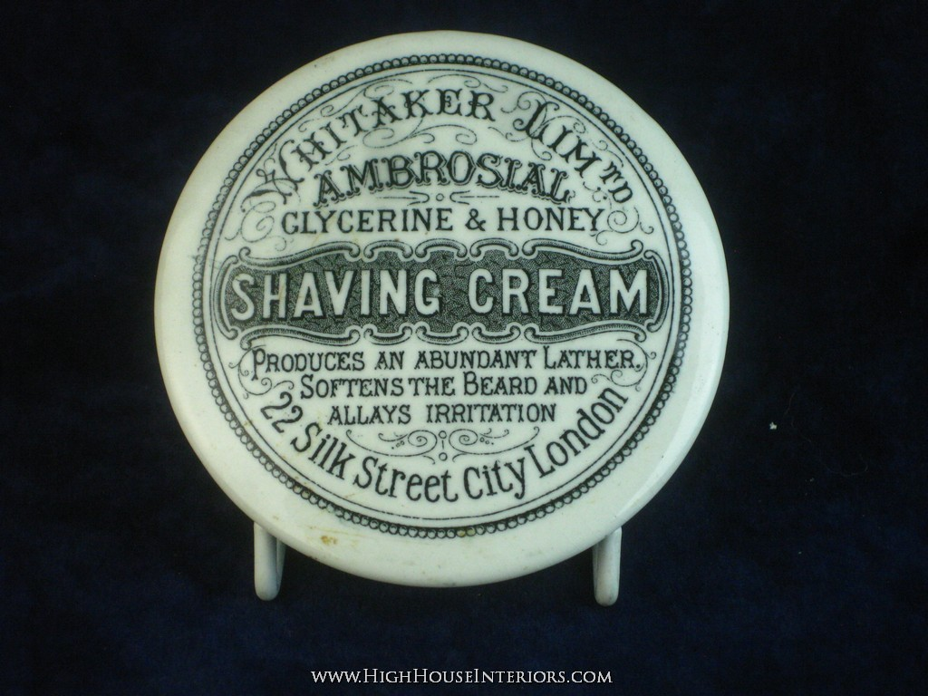 Old Pot Lid Whitaker Ambrosial Shaving Cream London - Virtually perfect - includes base - 3.5