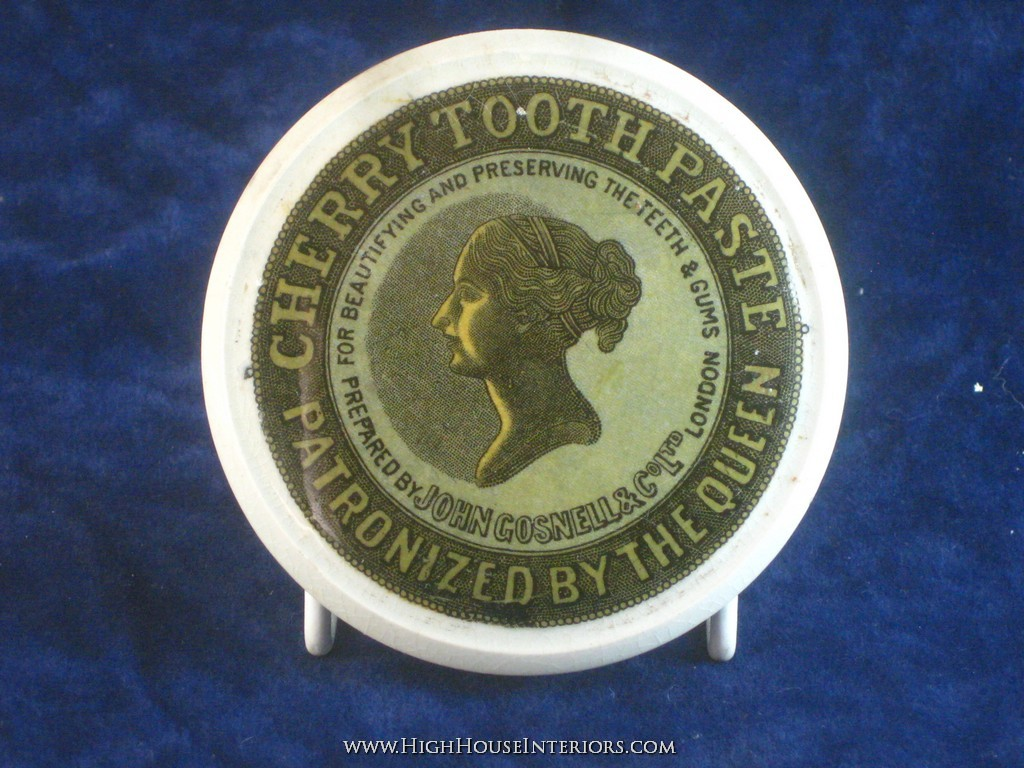Old Pot Lid John Gosnell`s Cherry Tooth Paste - One area of chipping to rim - includes base - 3