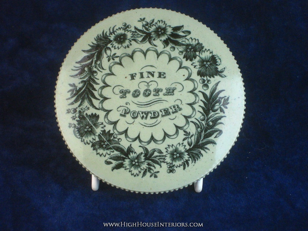 Old Pot Lid Fine Tooth Powder - Two minor chips to rim - 3.75
