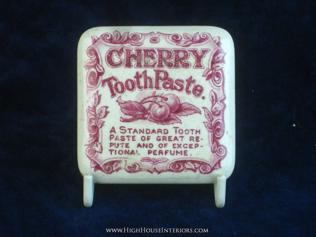 Old Pot Lid Red Print Cherry Tooth paste - Minute imperfections - 2.5