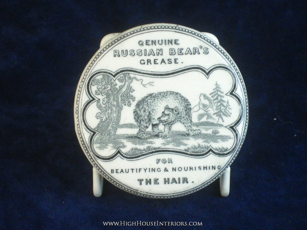 Old Pot Lid Genuine Russian Bear`s Grease for the Hair - One manufacture flaw to back otherwise