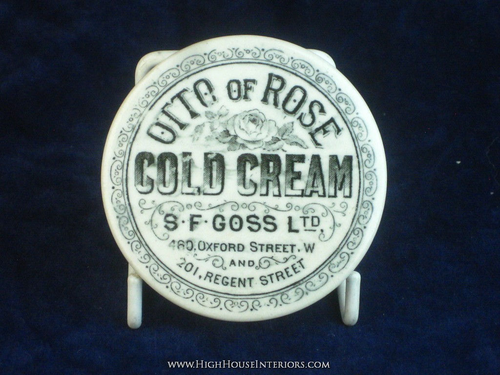 Old Pot Lid S. F. Goss Otto of Rose Cold Cream Oxford St. London - One nibble to rim edge -