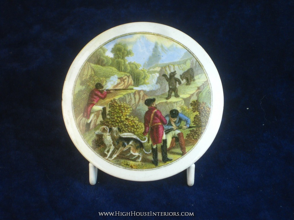 Old Pot Lid Prattware Bear`s Grease Hunting & Shooting with Dogs - Two very very minor dings to rim