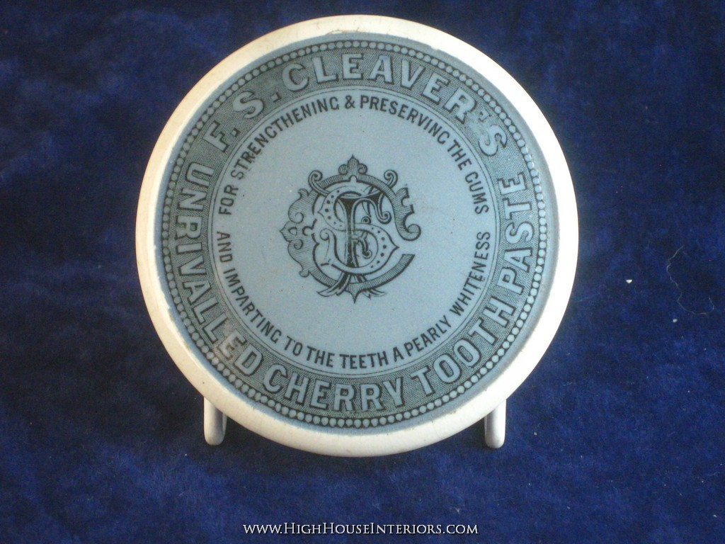 Old Pot Lid F. S. Cleaver`s Cherry Tooth Pate in Blue - Impact to rim edge and otherwise very
