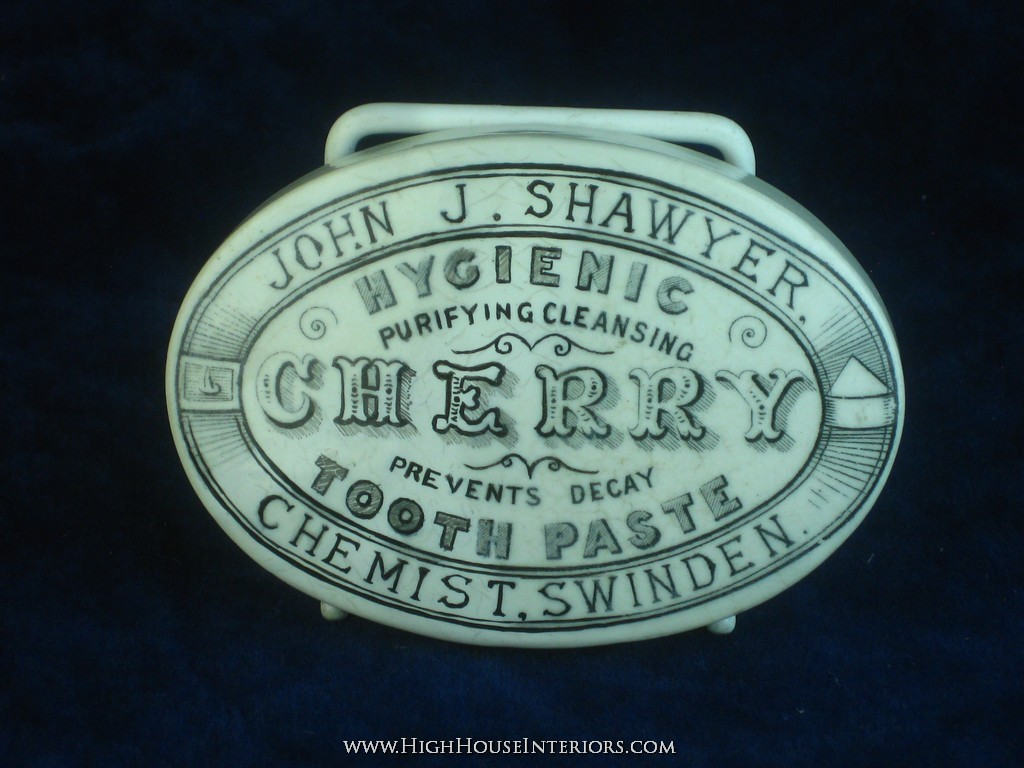 Old Pot Lid John Shawyer Hygienic Cherry Tooth paste Swinden Swindon - Has been in two halves at