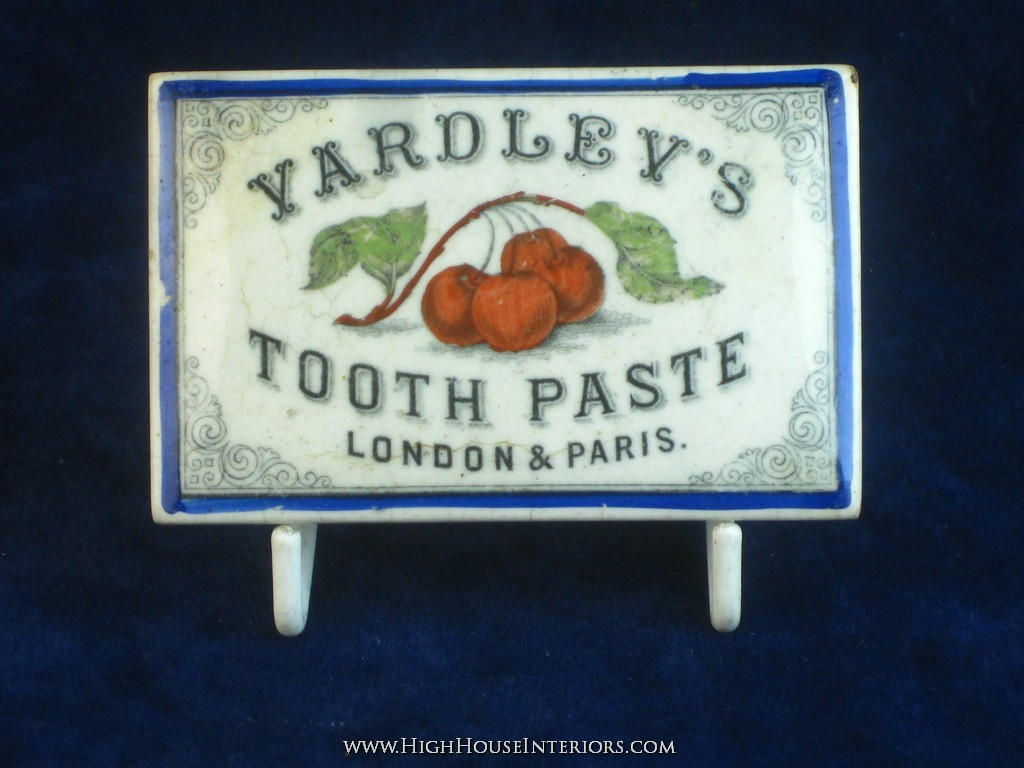 Old Pot Lid Yardley`s Tooth Cherry Paste - Two small chips to flange, minor nibbling and a few in-