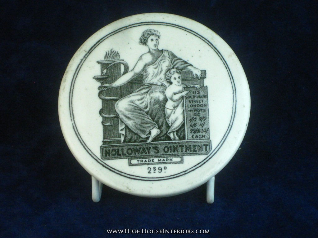 Old Pot Lid Holloway`s Ointment 2s 9d London - One small flake to rim and a few very small