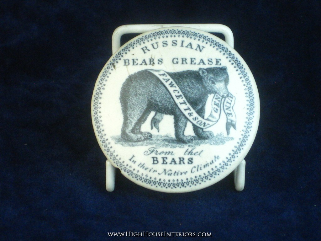 Old Pot Lid Fawcett and sons Russian Bears Grease from The Bears - A few chips and nibbling but