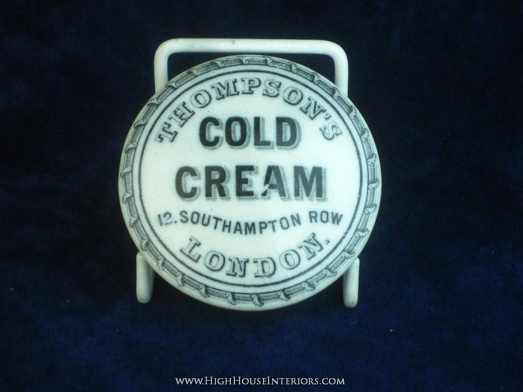 Old Pot Lid Thompson`s London Cold Cream - Extensive Flange Repair - comes with base - 2.5