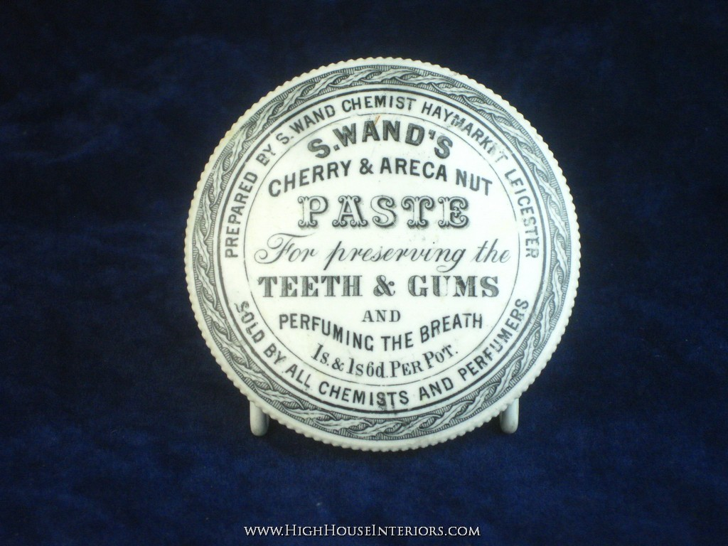 Old Pot Lid S Wand`s Cherry Tooth Paste Leicester - Very minor glaze cracks to back and impact mark