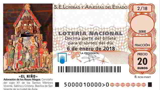 Loteria Nacional décimo Lotería BETES del sorteo 2018002