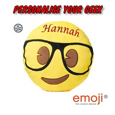 Personalised emoji® children's cushion. Create your unique Geek gift now!