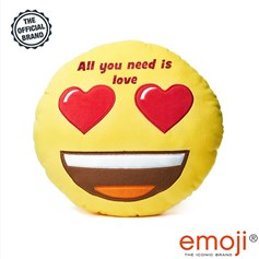 All you need is Love' Glitter Heart Eyes emoji® Brand Cushion | Official Licensed Product